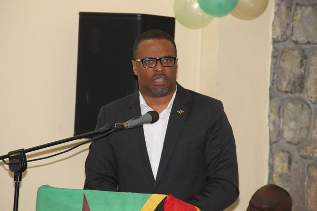 Premier of Nevis Hon. Mark Brantley delivering remarks at the New Year Celebration Service of the Royal St. Christopher and Nevis Police Force at the Charlestown Police Station's Recreational Room on January 03, 2018