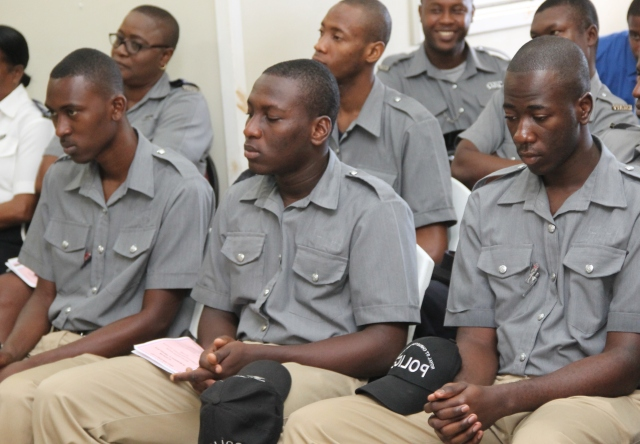 A group of recruits from the Royal St. Christopher and Nevis Police Force attending the Nevis Division's annual New Year Celebration Service at the Charlestown Police Station's Recreation Room on January 03, 2018