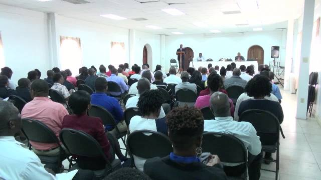 A section of senior civil servants at a meeting with members of the Nevis Island Administration Cabinet led by Hon. Mark Brantley, Premier of Nevis at the St. Paul's Anglican Church Hall on January 04, 2018