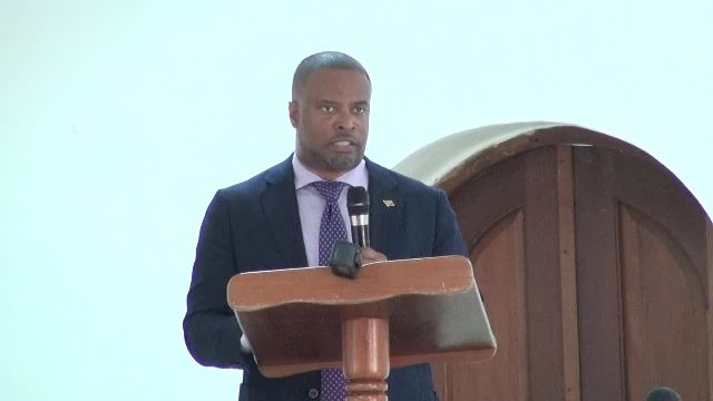 Premier of Nevis Hon. Mark Brantley addressing Heads of Departments at a meeting with members of the Nevis Island Administration Cabinet at the St. Paul's Anglican Church Hall on January 04, 2018