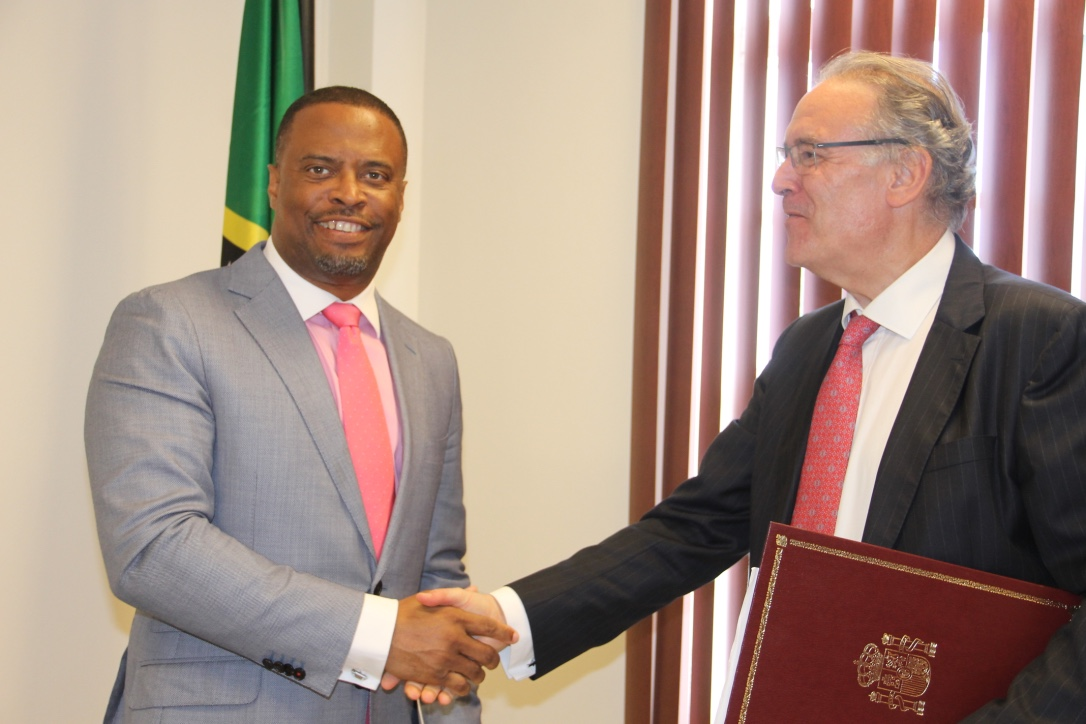 (l-r) St. Kitts and Nevis' Minister of Foreign Affairs Hon. Mark Brantley, who is also the Premier of Nevis; with His Excellency Josep Maria Bosch Bessa, Ambassador Extraordinary and Plenipotentiary of Spain to St. Kitts and Nevis; at the Premier's office on February 06, 2018