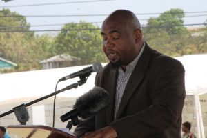 Mr. Huey Sargeant, Acting Permanent Secretary in the Ministry of Agriculture on Nevis delivering remarks at the 24th Annual Agriculture Open Day Opening Ceremony on March 22, 2018 at the Villa Grounds in Charlestown