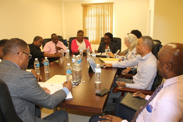 Hon. Mark Brantley, Premier of Nevis and Minister of Finance and his team meeting with executive members of the Nevis Chapter of the St. Kitts and Nevis Chamber of Industry and Commerce at Pinney's Estate on March 13, 2018