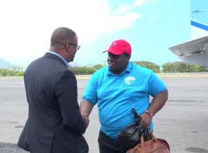 Premier of Nevis and Minister of Education Hon. Mark Brantley welcomes Rol-J Williams, Overall Best Speaker of the 46th Leeward Islands Debating Competition on his arrival at the Vance W. Amory International Airport on March 05, 2018