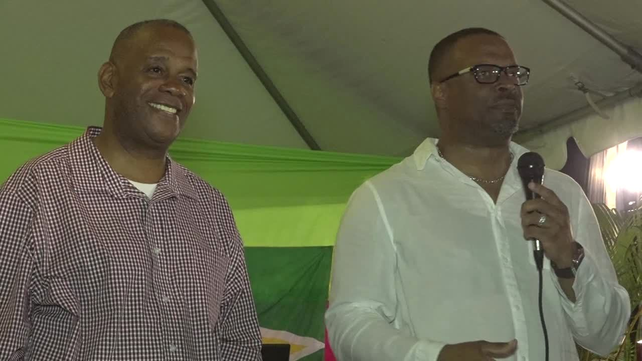 (l-r) Hon. Eric Evelyn, Minister of Culture, Community Development, Youth and Sports, and Hon. Mark Brantley, Premier of Nevis, at the Guyanese community's Mashramani celebrations at the Elquemedo T. Willett Park on March 03, 2018
