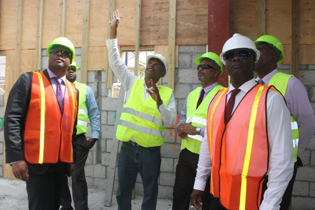 (middle) Mr. Collin Walters, Architect and Project Manager of the Treasury Reconstruction Project pointing out aspects of the project to members of the Nevis Island Administration Cabinet (to his left) Hon. Mark Brantley, Premier of Nevis; and, Hon. Troy Liburd (to the right) Hon. Spencer Brand, Mr. Stedmond Tross, Cabinet Secretary and Hon. Alexis Jeffers, Deputy Premier on a tour of the Treasury Reconstruction Project in Charlestown on March 07, 2018