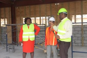Members of the Nevis Island Cabinet (l-r) Hon. Hazel Brandy-Williams and Mrs. Hélène Anne Lewis, Legal Advisor with Mr. Colin Dore, Permanent Secretary in the Ministry of Finance on a Cabinet tour of the Treasury Reconstruction Project in Charlestown on March 07, 2018