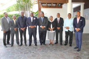 (l-r) Hon. Eugene Hamilton; Hon. Lindsay Grant; Hon. Shawn Richards, Deputy Prime Minister; Hon. Timothy Harris, Prime Minister of St. Kitts and Nevis; Vincent Byron, Attorney General; Ms. Josephine Huggins; Hon. Vance Amory; Hon. Ian Liburd; and Hon. Mark Brantley, Premier of Nevis on the occasion of a Cabinet Meeting of the Government of St. Kitts and Nevis at the Four Seasons Resort, Nevis, on February 19, 2018