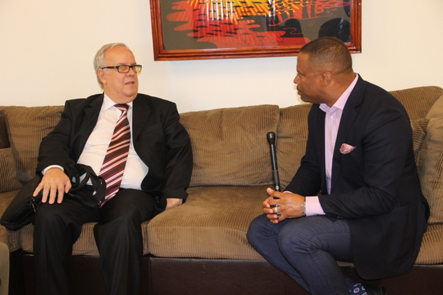 Premier of Nevis Hon. Brantley (right) welcomes Cuban Ambassador to St. Kitts and Nevis His Excellency Abelardo Hernandez Ferrer to his Pinneys Estate office during a courtesy call on February 20, 2018
