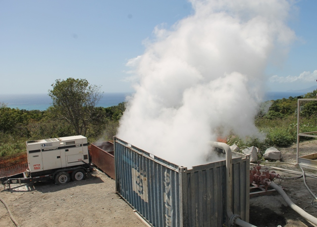 Steam coming from the geothermal test well at Hamilton on March 16, 2018