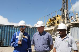 (l-r) Mr. Robert Stacy, Senior Reservoir Engineer with GeothermEX, Mr. Bruce Cutright, Chief Executive Office of the Nevis Renewable Energy International and Mr. Mackie Tross local representative for Nevis Renewable Energy International at the geothermal test site at Hamilton on March 16, 2018