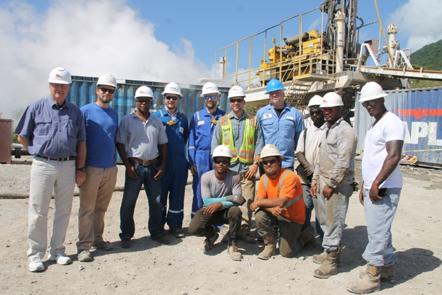 Nevis Renewable Energy International executives, GeothermEX engineers and the drill team at the geothermal test site at Hamilton on March 16, 2018
