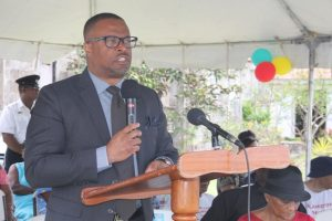 Hon. Mark Brantley, Premier of Nevis delivering remarks at the 15th anniversary celebration of the Nevisian Heritage Village in Gingerland on February 22, 2018