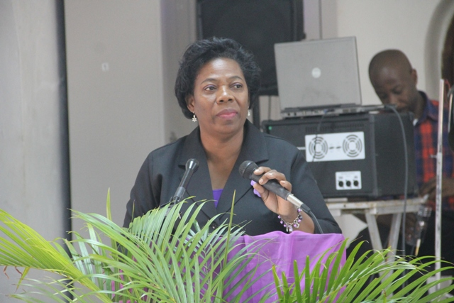 Ms. Lorraine Archibald, Coordinator of the Department of Gender Affairs delivering remarks at the Department's Health is Wealth Seminar for Women and Girls at the St. Paul's Anglican Church Hall on March 08, 2018