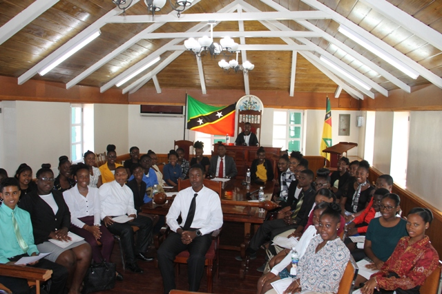 Youth Parliamentarians at the Nevis Island Assembly chambers after a mock parliamentary sitting on March 12, 2018 commemorating Commonwealth Day