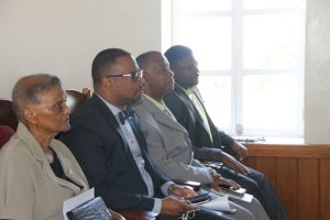 (l-r) Acting Deputy Governor General Hon. Majorie Morton; Hon. Mark Brantley, Premier of Nevis; Hon. Eric Evelyn, Minister of Youth; and Hon. Troy Liburd, Minister of Education in the gallery of the Nevis Island Assembly on March 12, 2018 at a mock parliamentary sitting in commemoration of Commonwealth Day