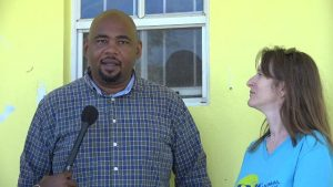 Mr. Huey Sargeant, Acting Permanent Secretary and Ms. Janice Jensen, Owner of Nevis Animal Speak on April 03, 2018 at The Barking Lot in Cades Bay, Nevis