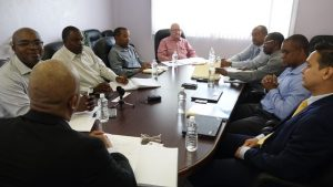 (l-r) Hon. Spencer Brand, Minister of Water Services; Dr. Ernie Stapleton, Permanent Secretary in the Ministry of Water Services; Mr. Denzil Stanley, Principal Assistant Secretary in the Ministry; Mr. Roger Hanley, Manager of the Nevis Water Department; Mr. Bryan Kennedy, Project Coordinator and members of the Caribbean Development Bank's Economic Infrastructure Division; Mr. Peter Manning, Operations Officer (Analyst); Mr. Whitfield Clarke, Operations Officer (Civil Engineer); Mr. L. O'Reilly Lewis, Division Chief and; Mr. Lano Fonua, Operations Officer (Energy); at a meeting at the Ministry of Finance conference room on April 19, 2018