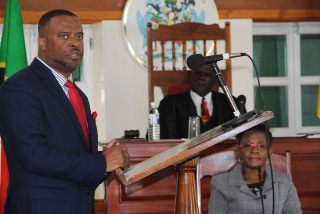 Premier of Nevis Hon. Mark Brantley delivering a statement at the Nevis Island Assembly on April 24, 2018 with Hon. Farrell Smithen, President of the Assembly and Ms. Myra Williams, Clerk of the Assembly looking on