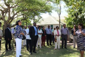 Ms. Nicole Liburd Executive Director of the Nevis Historical and Conservation Society welcoming Governors-General and Presidents from the Caribbean Region to the Alexander Hamilton Museum in during a visit to Nevis on April 09, 2018
