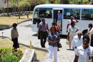 Governors-General and Presidents of the Caribbean Region, delegates at the 16th Conference of Governors-General and Presidents of the Caribbean Region arrive at the Nisbett Plantation Beach Club during a visit to Nevis on April 09, 2018