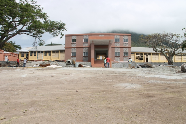 The new administrative block (at the front) and the student's new washroom facilities (extreme left) at the Gingerland Secondary School on April 20, 2018, during a site visit led by Hon. Spencer Brand Minister responsible for Public Works on Nevis