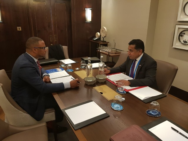 (L-r) Hon. Mark Brantley, Minister of Foreign Affairs and Aviation in St. Kitts and Nevis meeting with Lord Tariq Ahmad United Kingdom Minister of State in the UK Foreign Commonwealth Office