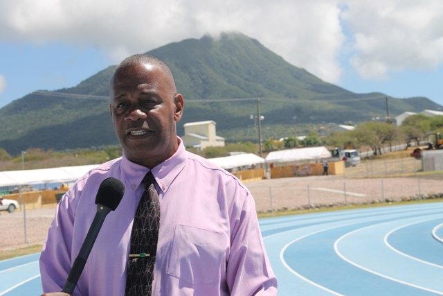 Hon Eric Evelyn, Minister of Youth and Sports in the Nevis Island Administration at the Mondo Track at Long Point on March 27, 2018