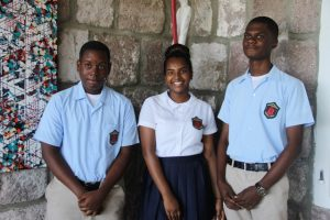 (l-r) Mr. Mikkel Maloney, Ms. Kimberly Dookhan and Mr. Recardoe Rodriques, students of the Charlestown Secondary School who will be participating in the local leg of The Bank of Nevis Limited Tourism Youth Congress scheduled for May 17, 2018 at the Nevis Performing Arts Centre