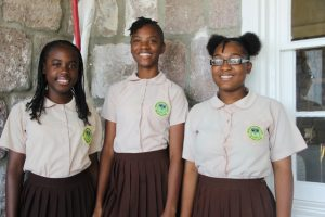 (l-r) Ms. Ajuma Liburd, Ms. Shaianu Tyson, and Ms. K-Tara Huggins students of the Gingerland Secondary School who will be participating in the local leg of The Bank of Nevis Tourism Limited Youth Congress scheduled for May 17, 2018, at the Nevis Performing Arts Centre