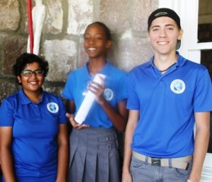 (l-r) Ms. Tarana Anadkat, Ms. Eliyse Thomas, and Mr. Jesse Wyly, students of the Nevis International Secondary School who will be participating in the local leg of The Bank of Nevis Limited Tourism Youth Congress scheduled for May 17, 2018, at the Nevis Performing Arts Centre