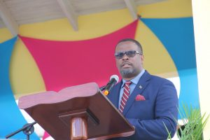 Hon. Mark Brantley, Premier of Nevis and Minister of Tourism delivering remarks at the opening of the Artisan Village on May 24, 2018 at Pinney's Estate