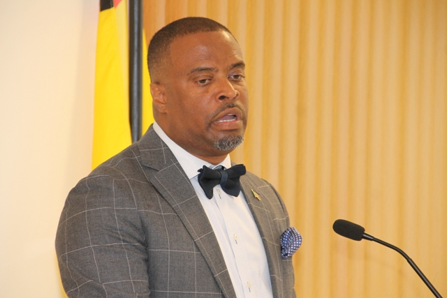 Premier of Nevis Hon. Mark Brantley at his press conference at the Cabinet Room at Pinney's Estate on May 29, 2018.