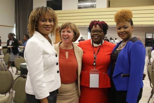 (l-r) Ayanna Webster-Roy, Minister of State in the Office of the Prime Minister of Trinidad and Tobago, Sheila Malcolmson, Member of Parliament in Canada, Hon. Hazel Brandy Williams, Junior Minister of Health and Gender Affairs on Nevis and Dr. Nyan Gadsby-Dolly, Minister of Community Development and Culture in Trinidad and Tobago share a light moment at the Parlamericas 10th Gathering of Parliamentary Network for Gender Equality Gender Responsive Climate Action Conference in Port of Spain, hosted by the Parliament of the Republic of Trinidad and Tobago from May 22nd to 24th 2018 (photo courtesy Trinidad and Tobago Parliament)