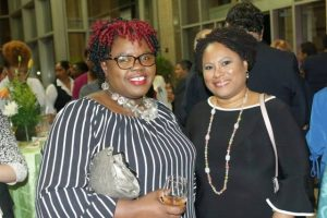 (l-r) Hon. Hazel Brandy Williams, Junior Minister of Health and Gender Affairs on Nevis with Denise Tosiasah-Angus MD, Presiding Officer at the Tobago House of Assembly Legislature share at a cocktail hosted by the Trinidad and Tobago Parliament at the Parliament Building in Port of Spain, for participants at the 10th Gathering of Parliamentary Network for Gender Equality Gender Responsive Climate Action hosted by the Parliament of the Republic of Trinidad and Tobago from May 22nd to 24th 2018(photo courtesy Trinidad and Tobago Parliament)
