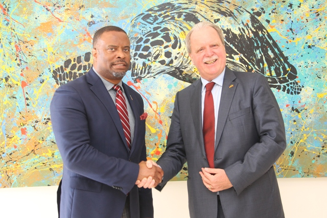 Minister of Foreign Affairs and Premier of Nevis Hon. Mark Brantley welcomes His Excellency Holger Michael, the Federal Republic of Germany's new Ambassador to St. Kitts and Nevis during a courtesy call at his Pinney's office on May 24, 2018