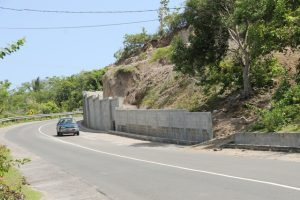 Retaining wall constructed at Fenton Hill with funding from the Government of Japan (file photo)