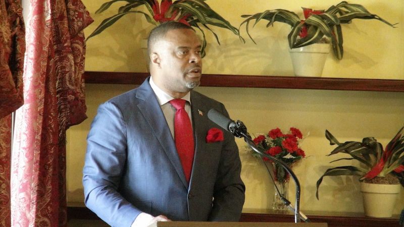 Premier of Nevis Hon. Mark Brantley delivering remarks at the opening ceremony of the two-day Commonwealth Parliamentary Association's Post Election Seminar at the Mount Nevis Hotel on May 15, 2018