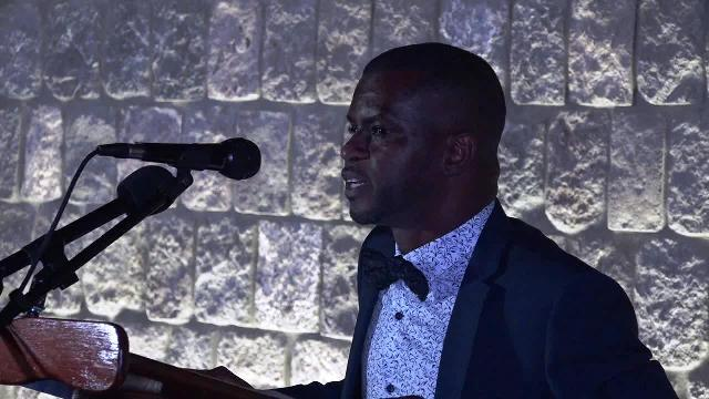 Mr. Quincy Prentice, Director of the Information Technology Department on Nevis delivering remarks at the Department's 2nd annual Delta Dinner at Golden Rock Hotel on May 05, 2018