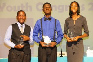 (l-r) Mr. Mikkel Maloney, second runner up; Mr. Recardoe Rodriques, winner; and Ms. Eliyse Thomas, third runner up in the Bank of Nevis Ltd. Tourism Youth Congress on May 17, 2018 at the Nevis Performing Arts Centre