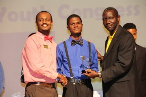 Mr. Recardoe Rodriques, winner of the Bank of Nevis Ltd. Tourism Youth Congress receiving his award on May 17, 2018 at the Nevis Performing Arts Centre