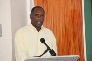 Mr. Colin Dore, Permanent Secretary in the Ministry of Finance delivering remarks at the opening ceremony of the Essential Oils Workshop hosted by the Small Business Enterprise Unit in the Ministry of Finance on Nevis on May 09, 2018, at the Credit Union Conference Room