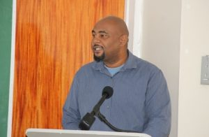 Mr. Huey Sargeant, Permanent Secretary in the Ministry of Agriculture delivering remarks at the opening ceremony of the Essential Oils Workshop hosted by the Small Business Enterprise Unit in the Ministry of Finance on Nevis on May 09, 2018, at the Credit Union Conference Room