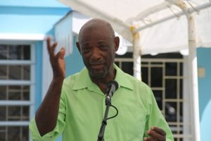Mr. Eustace Esdaille, a participant at the two-week Essential Oils Workshop, hosted by the Small Enterprise Development Unit in the Ministry of Finance on Nevis delivering remarks at the closing ceremony on May 23, 2018