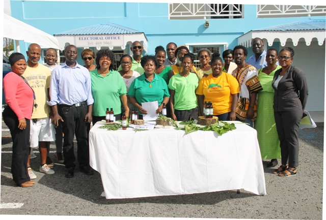 Participants of the Essential Oils Workshop on Nevis with facilitator Mr. Timothy and others present at the closing ceremony on May 23, 2018