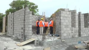 Cabinet members of the Nevis Island Administration visiting the construction site of the Newcastle Police Station recently
