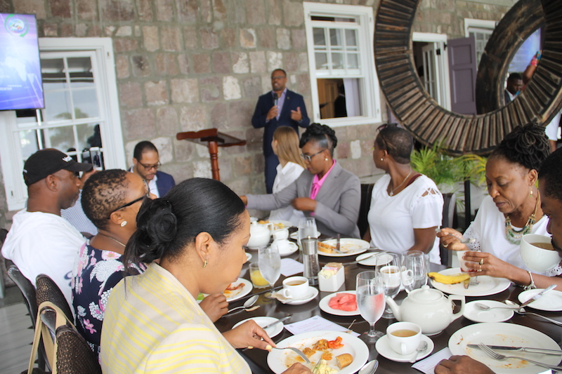 Hon. Mark Brantley, Minister of Foreign Affairs and Aviation and Premier of Nevis, addressing members of the addressing members of the St. Kitts and Nevis Diaspora at the Premier's Business Breakfast at the Montpelier Plantation and Beach Club on Thursday, June 28, 2018