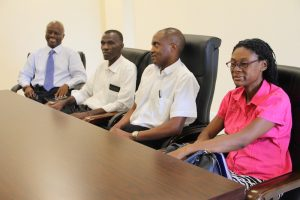 (l-r) Mr. Wakely Daniel, Permanent Secretary in the Premier's Ministry; Pastor Eversley Pemberton; Fr. Lawrance Malama and Rev. Marcia Tomlinson during a meeting facilitated by Hon. Mark Brantley, Premier of Nevis, with the Nevis Christian Council and the Evangelical Association on June 19, 2018 at the Premier's Ministry Conference Room at the Social Security Building at Pinney's Estate