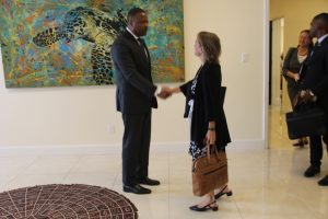 Hon. Mark Brantley, Premier of Nevis greets Her Excellency Ms. Marie Legault, High Commissioner of Canada for the Eastern Caribbean as she enters his office chambers at the Social Security Building at Pinneys on June 21, 2018