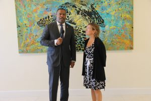 Hon. Mark Brantley, Premier of Nevis offers welcoming remarks to Her Excellency Ms. Marie Legault, High Commissioner of Canada for the Eastern Caribbean at his office on June 21, 2018